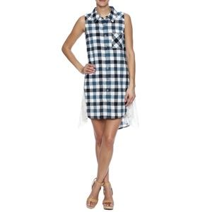 NWT A'Reve Cream and Tan Checkered Dress Size M